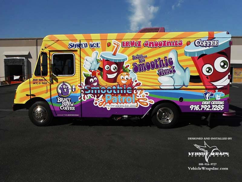 Full vehicle wrap food truck smoothie patrol 3m