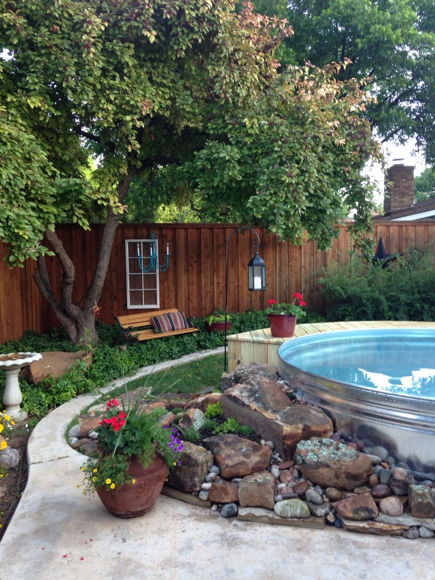 Stock tank pool, rock garden | For the Home | Pinterest | Haus ...