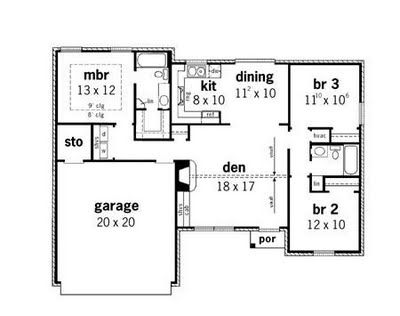 3 Bedroom House Floor Plan 3 bedroom apartmenthouse plans Simple Small House Floor Plans Home Plans At Dream Home Source One Bedroom Homes And