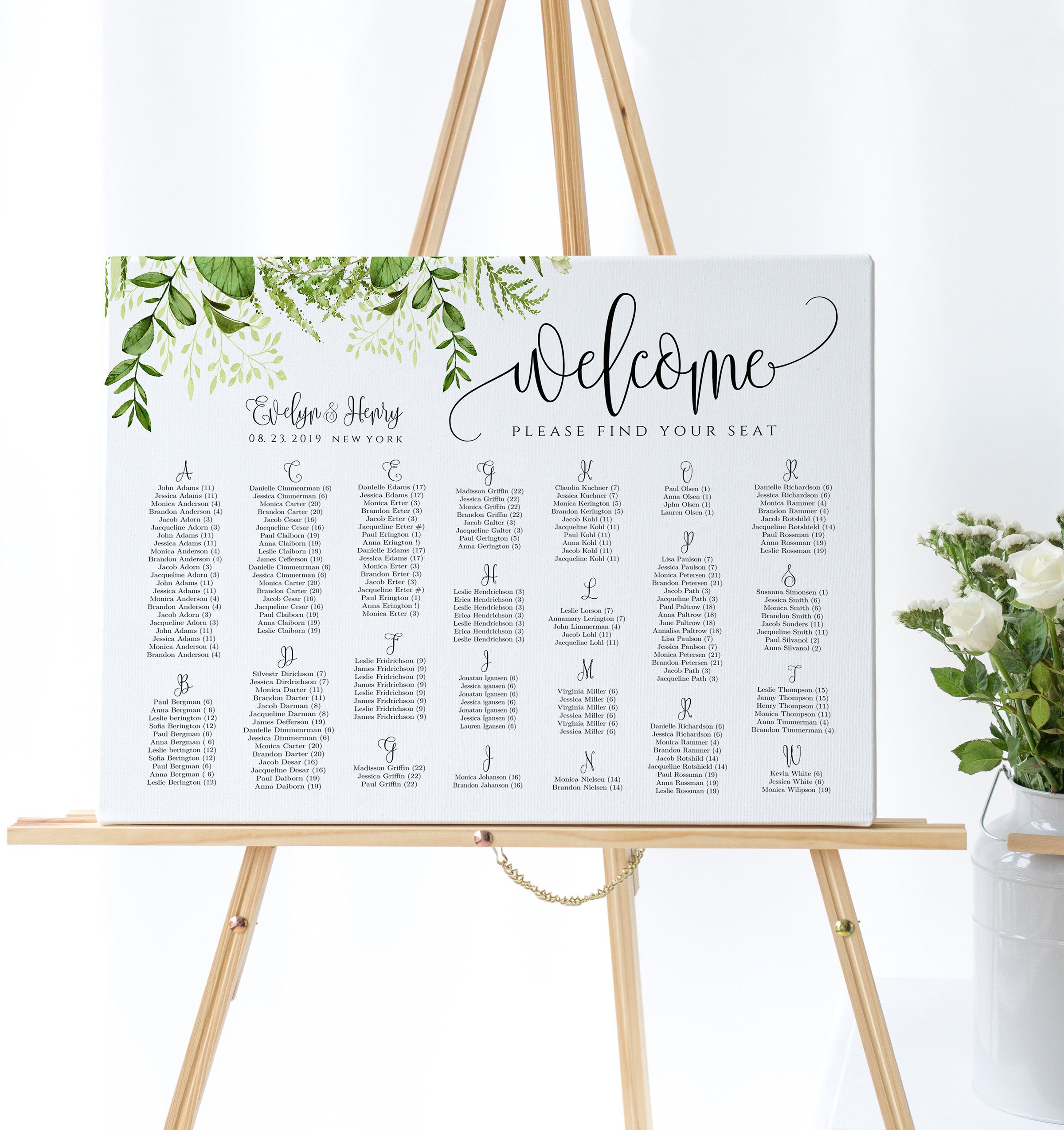 Greenery Wedding Seating Chart Sign Template Editable Wedding Guest List Seating Plan Printable Seating Poster Wedding Sign Template Diy Seating Chart Wedding Seating Plan Wedding Wedding Seating