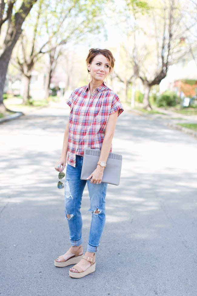 love this short pixie hair, leather earrings, plaid, and distressed denim