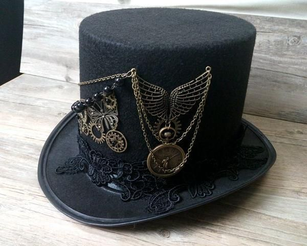 Unisex Party Black Hat Vintage Steampunk Gear Skull Wings Glasses Top Hat Gothic