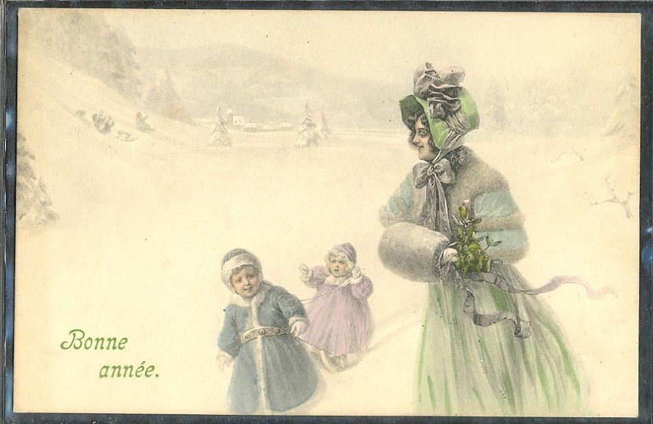 ~GZ016 VK VIENNE Bonne année FEMME ENFANTS NEIGE MANCHON CHAPEAU LUGE SLEDGE~