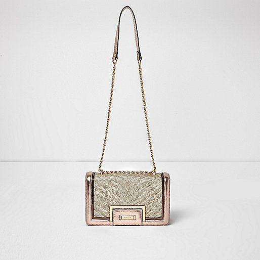 Rose gold quilted panel chain shoulder bag - clutch bags - bags ...