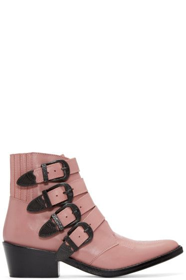 2321e38681 Toga Pulla - Pink Western Buckle Boots