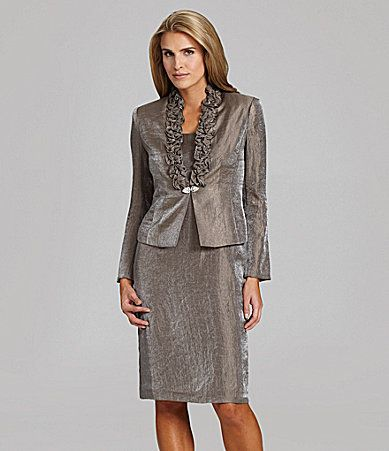Jessica Howard Woman RuffleNeck Loveable Jacket Dress #Dillards ...