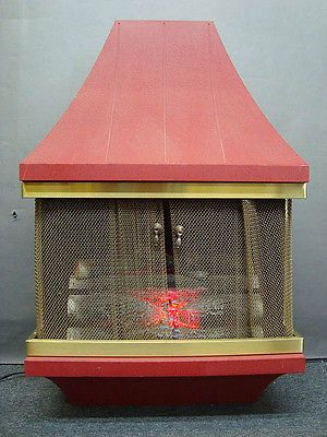 Vtg Signature Electric Wall Standing Fireplace Heater Motion Logs ...