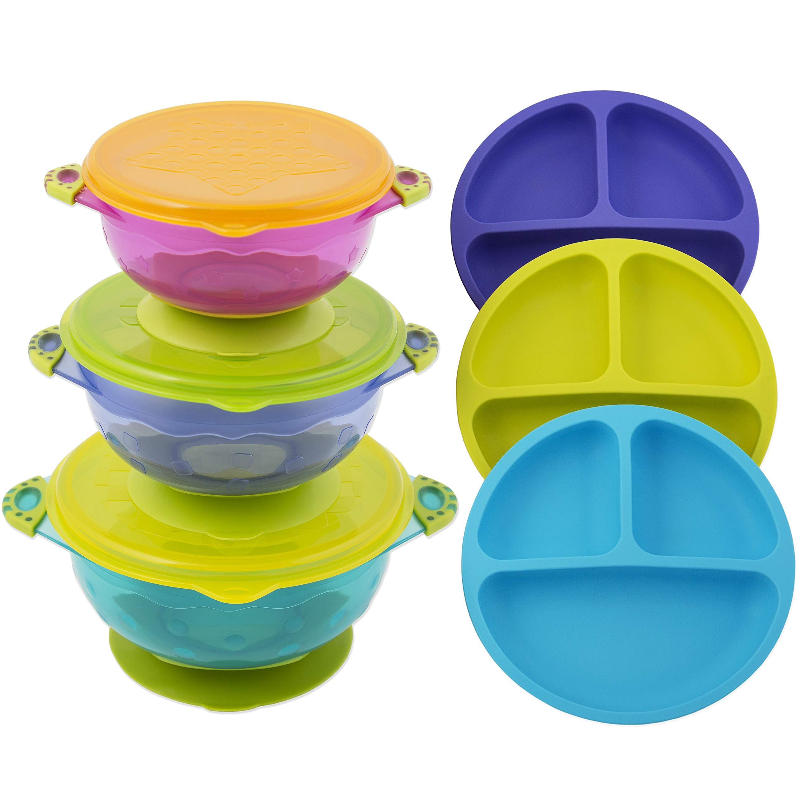 2 Divided Mealtime Feeding Plates Bowls Baby Toddler Blue Pink BPA Free
