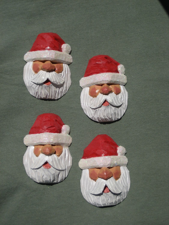 Hand Carved Wood Santa Tree Ornament $15.00, via Etsy ...
