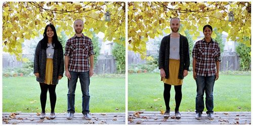 Couples pose for clothes-switching photos.