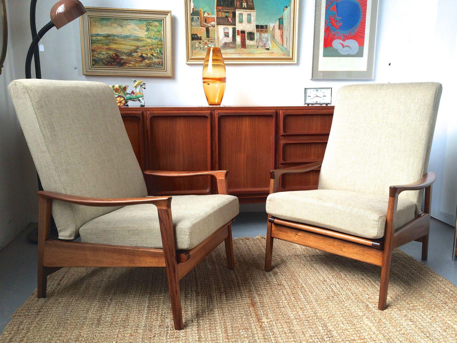 2 X Blackwood Parker Recliners Retro Funk And Junk Mid Century Armchair Armchair Vintage Parker Furniture