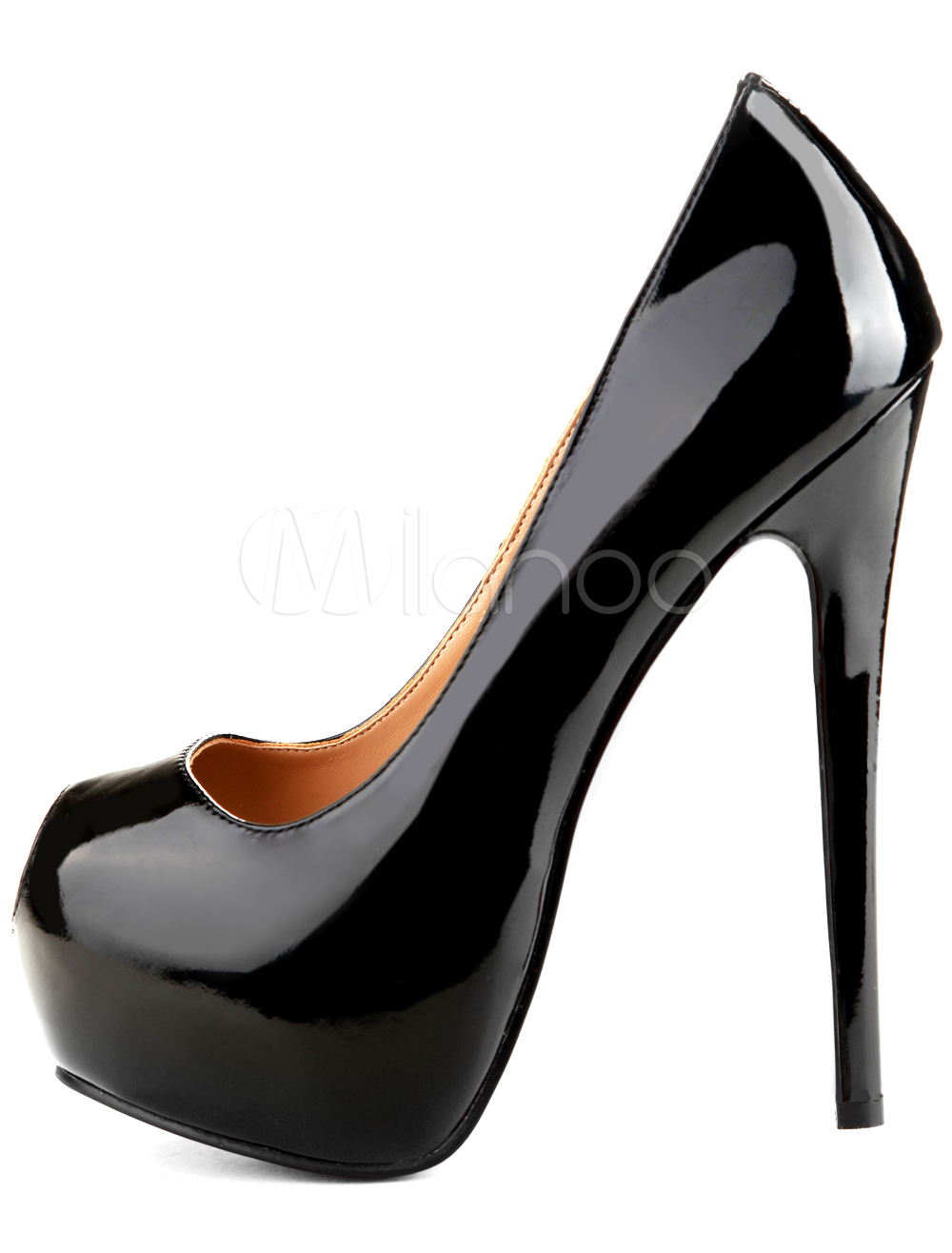 black peep toe platforms