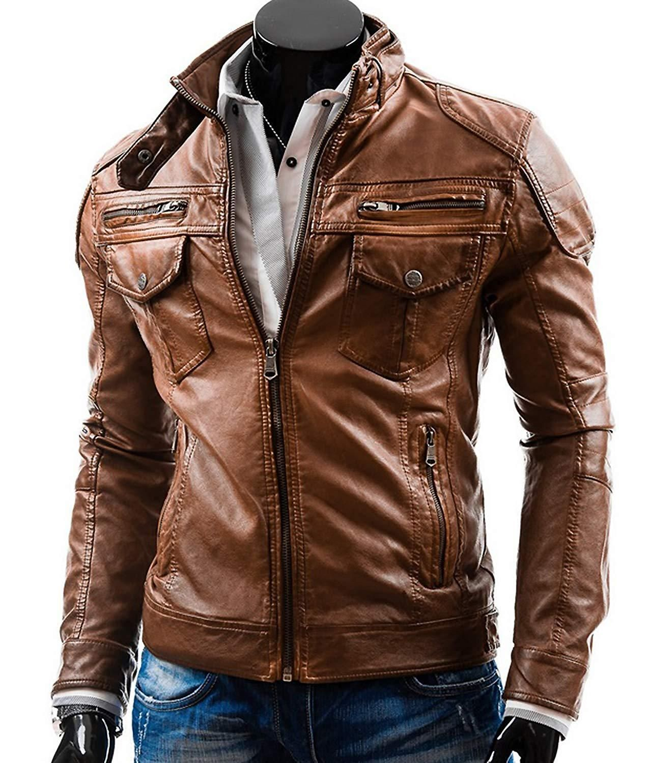 Men Aged Motorcycle Style Solid Color Lambskin Leather Jacket Outerwear Leather Jacket Men Style Leather Jacket Boys Leather Jacket [ 1500 x 1275 Pixel ]