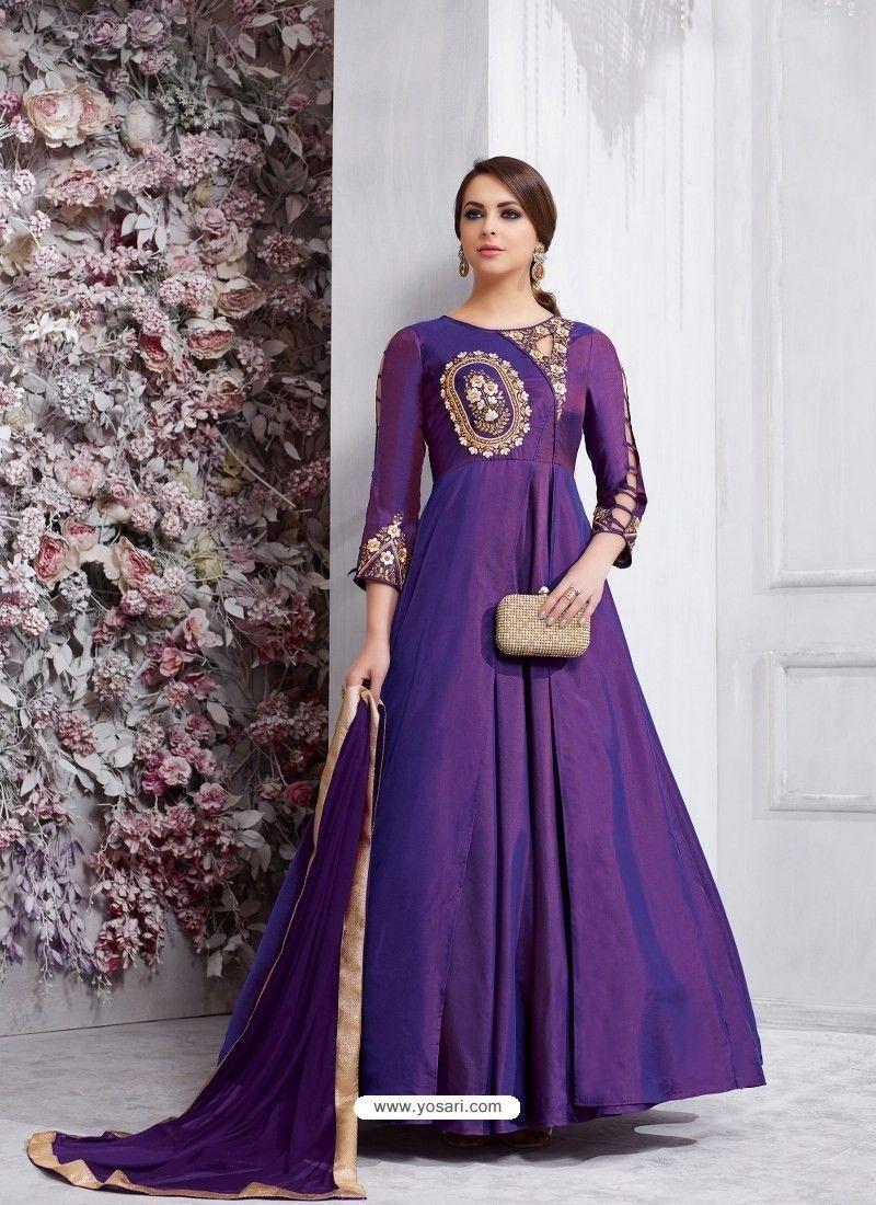 2aca04aed14 Purple Soft Tapeta Silk Embroidered Designer Anarkali Suit in 2019 ...
