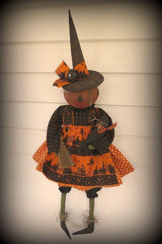 PRIMITIVE FOLK ART Halloween Pumpkin Witch by ragpatchprimitives - halloween arts and crafts decorations