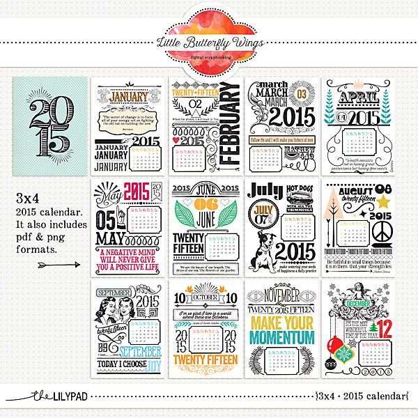 3x4 - 2015 Calendar cards for scrapbooking Little Butterfly Wings at