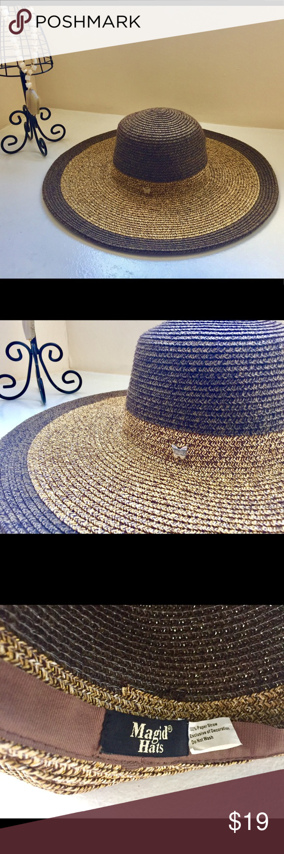 Magid Hats Summer Gold and Brown Hat Pre-owned 1d1f366b172