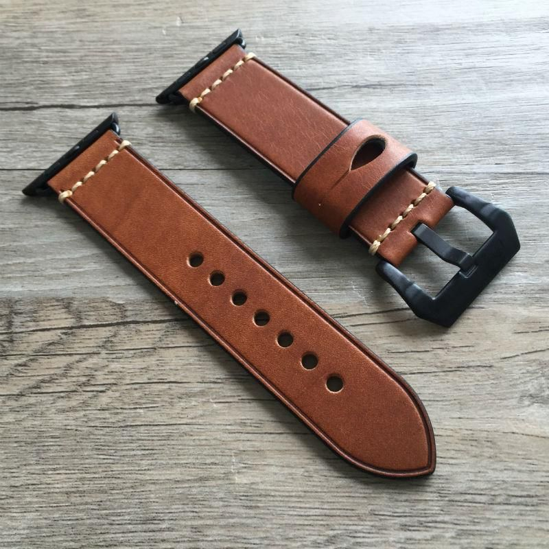 Leather Apple Watch Strap No. 1 - Red Black Buckle 38mm