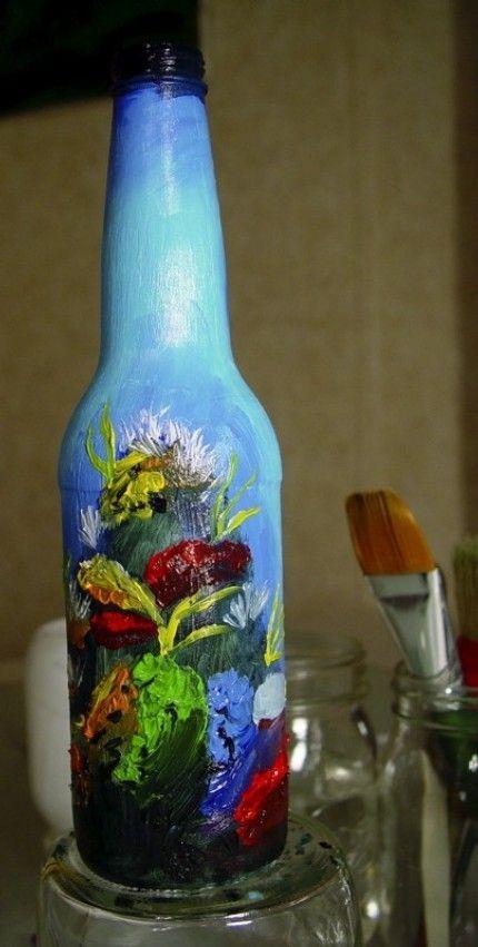 Decorated Glass Bottles Hand Painted Glass Bottle  Bottle Art  Pinterest  Bottle Art