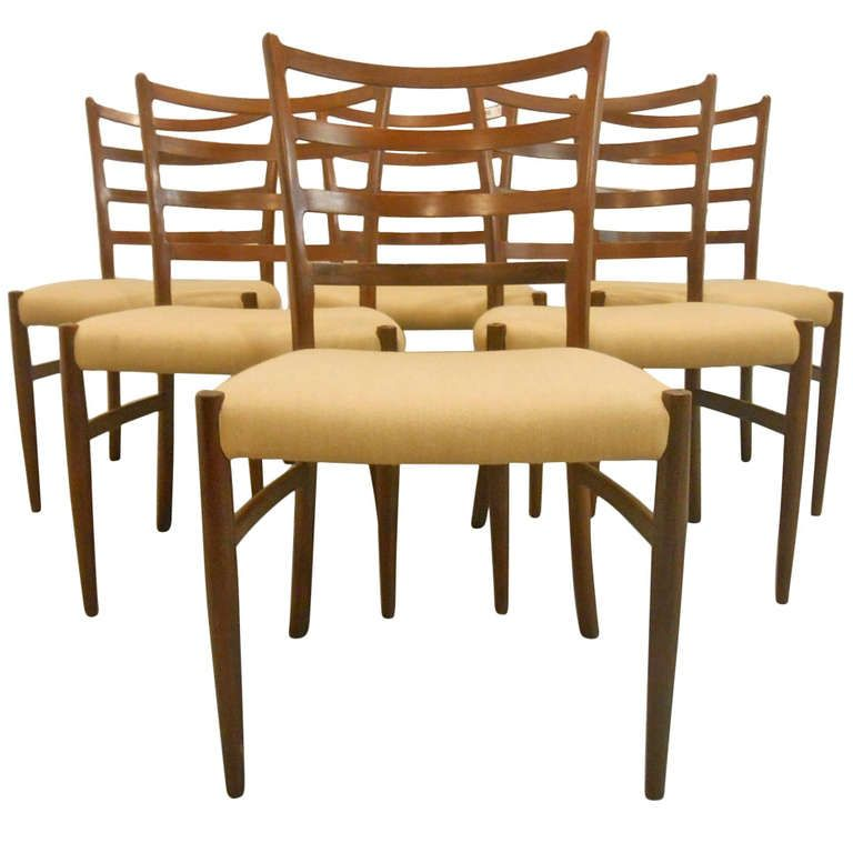 Six Danish Mid Century Modern Ladderback Dining Chairs For The Occasional Room