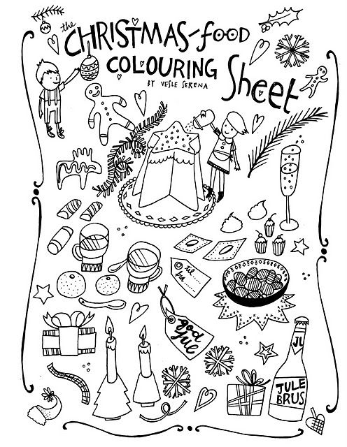christmas colouring sheet italian and norwegian food