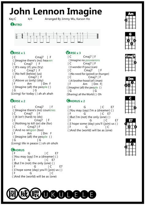 Ukulele John Lennon Imagine Ukulele Tab Jazz Chords