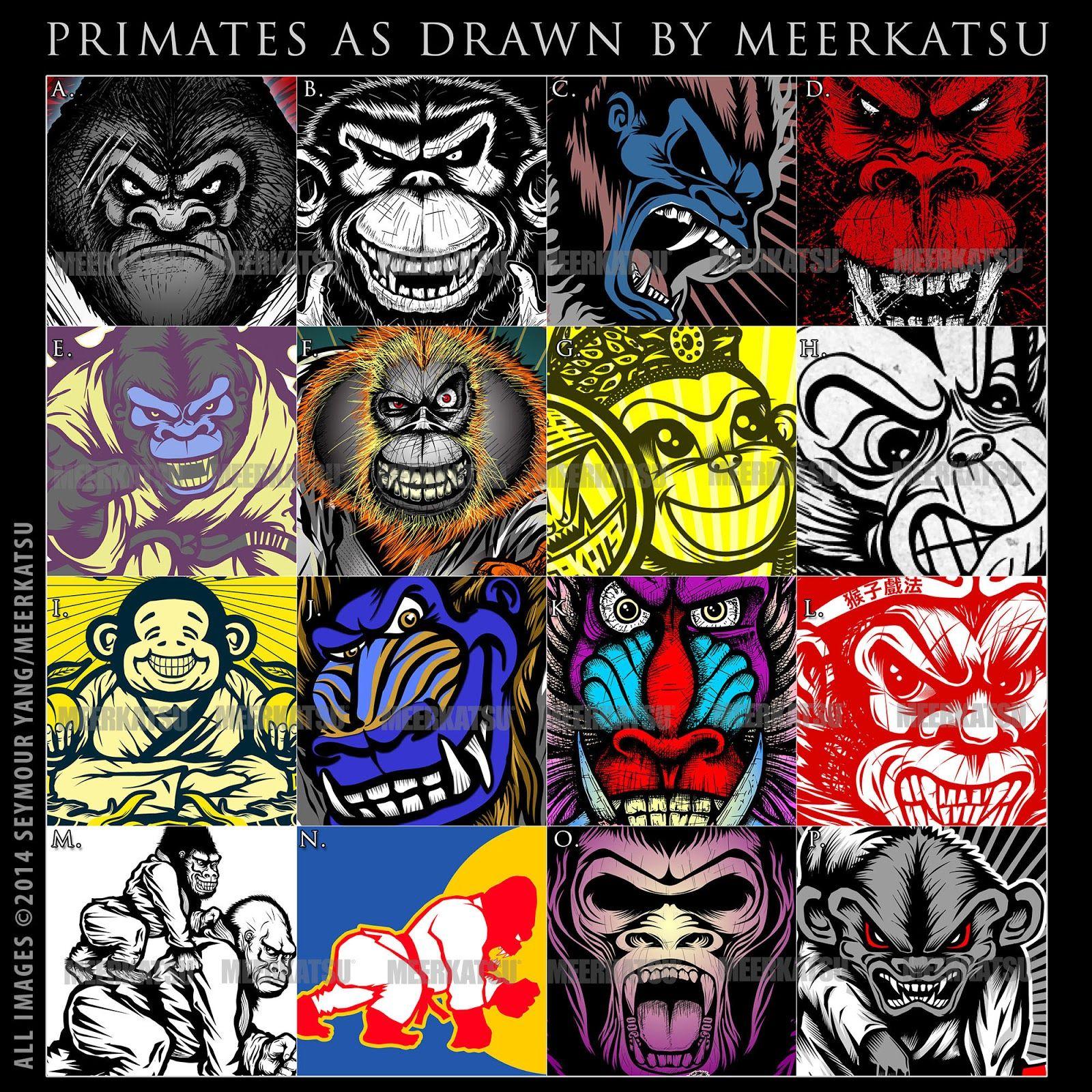 Contest Guess These Primates Meerkatsu S Blog Jiu Jitsu Tattoo Monkey Drawing Jiu Jitsu