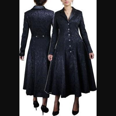 Black Jacquard Long Gothic Fitted Coat | Coats | Pinterest | Gothic