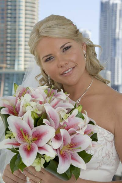Wedding Flowers By Natalina Pink Oriental Lilies And White Singapore Orchids Posy Bouquet Servicing Gold Coast Tamborine Mountain Brisbane Areas