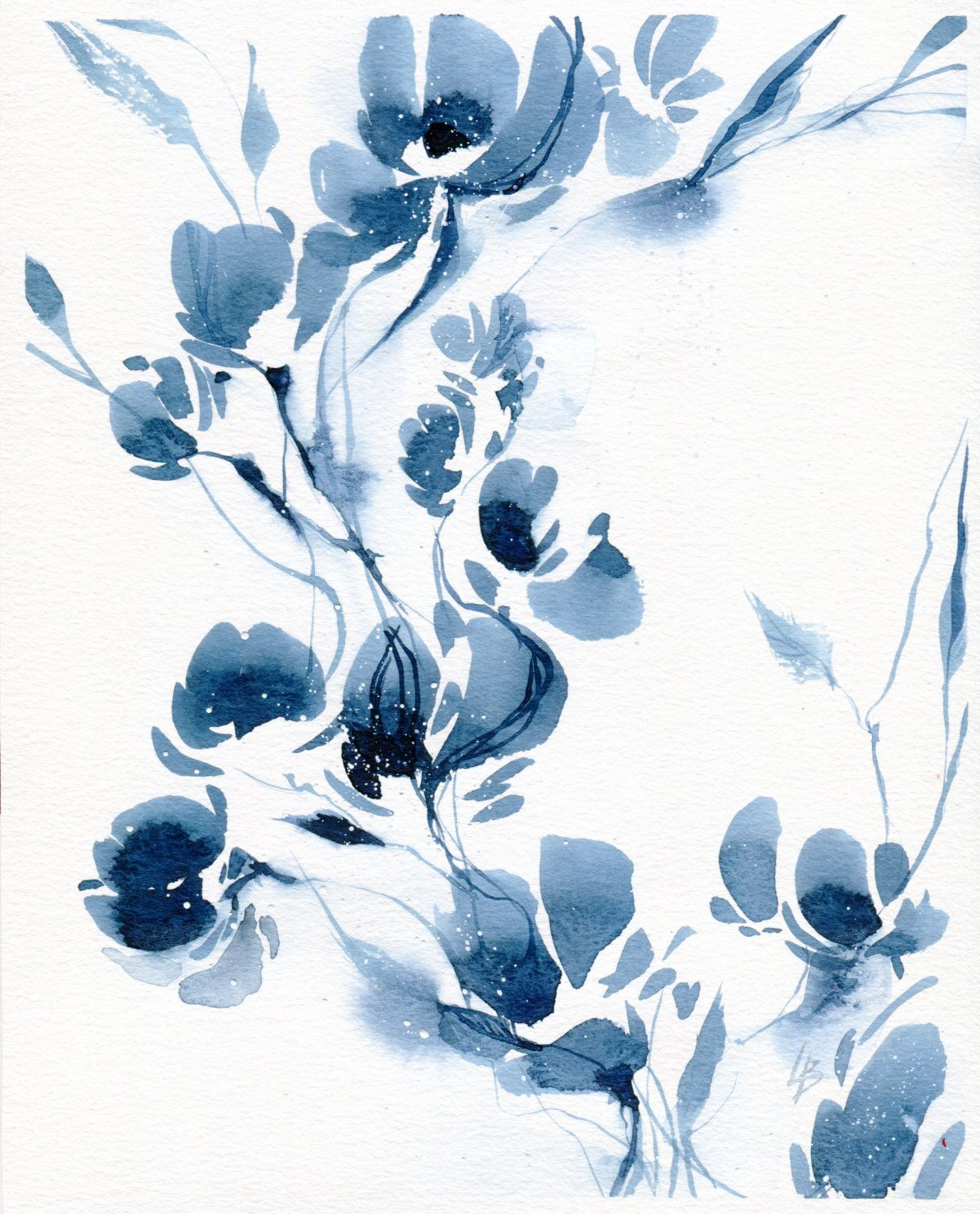 Original Painting Original Watercolor Blue Abstract Flower Blue