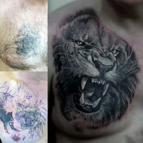 Roaring Tiger Head Guys Cover Up Upper Chest Tattoos Cover Up Tattoos For Men Tattoos For Guys Cover Up Tattoos