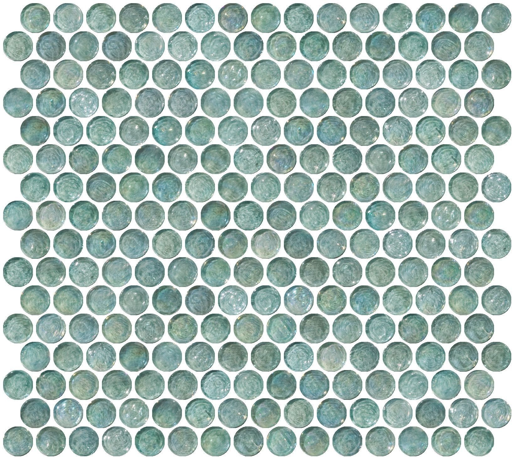 Penny Round Aqua Blue Iridescent Glass Tile Penny Tile Glass