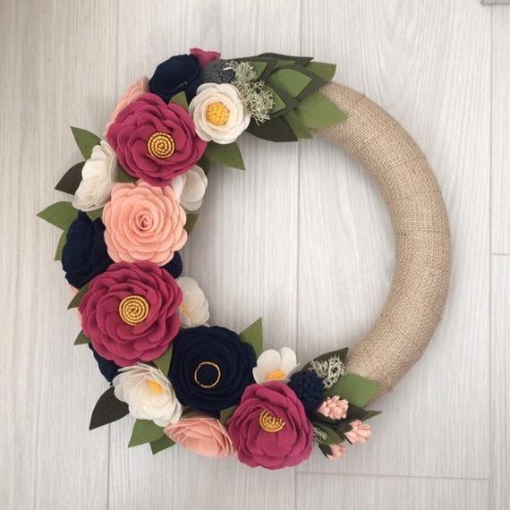 Photo of Spring Wreath, Housewarming Gift, Summer Wreath, Felt Wreath, Felt Flowers Wreath,  Wreaths, Wreath Spring, Wreath Pink