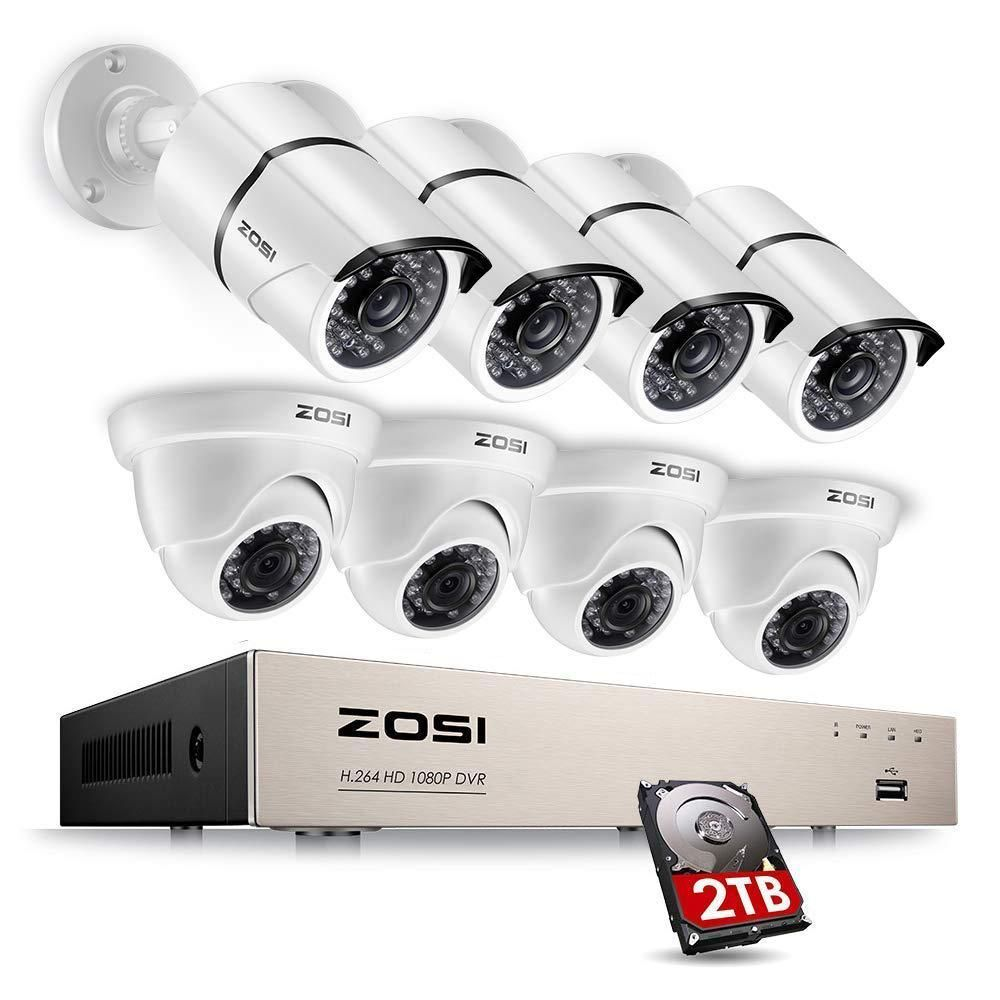 Zosi 8 Channel 1080p 2tb Dvr Security Camera System With 4 Wired Bullet Cameras And 4 Wired Dome Cameras 8fn 261x418w 20 The Home Depot Dome Camera Wireless Home Security Systems Bullet Camera
