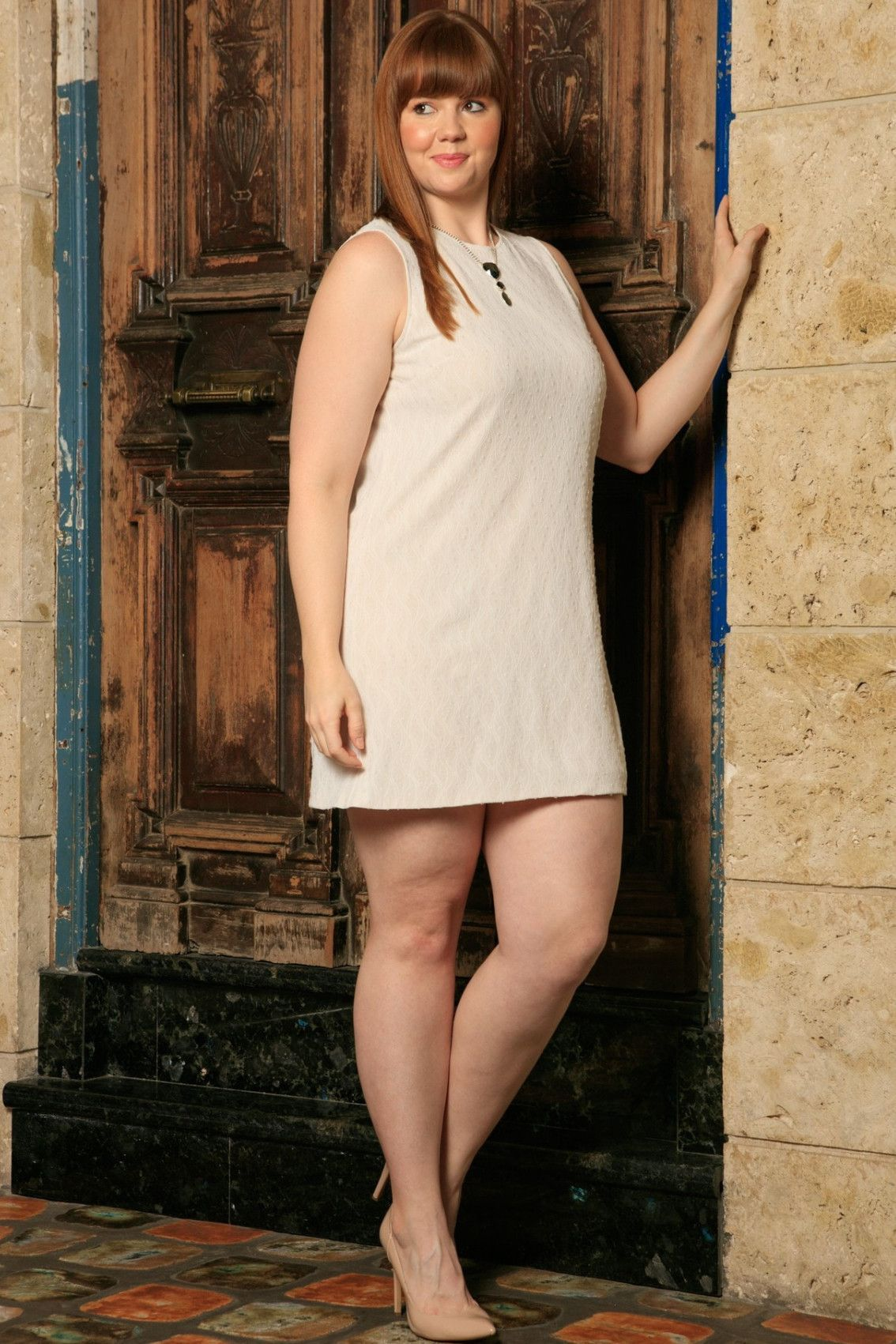 Off-White Stretchy Lace Sleeveless Party Shift Dress - Women Plus Size