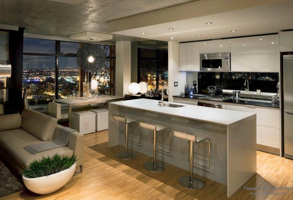 Дизайн гостиной, совмещенной с кухней на фото (с ...