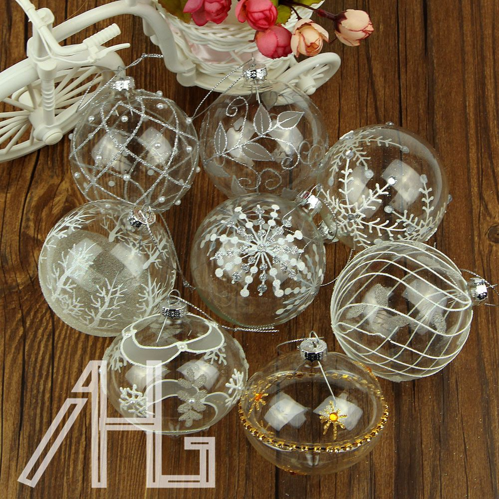 8X Christmas Clear Glass Baubles Etched Sparkling Vintage Xmas hanging Balls