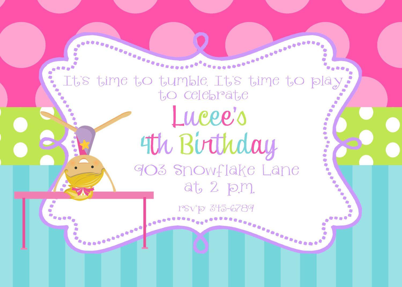 Gymnastics Birthday Party invitations printable or digital file ...