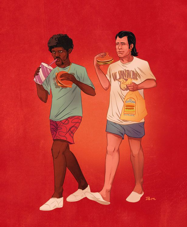 Illustrated Pop Culture Buddies - Design - ShortList Magazine - Pulp Fiction