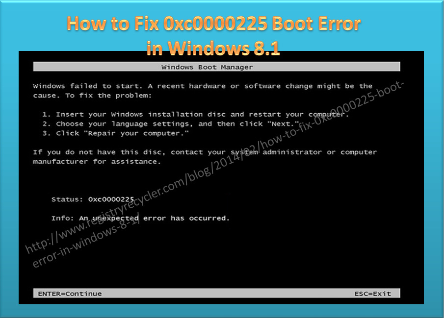 0xc0000225 is a boot error that noticeably came forward in Windows 7