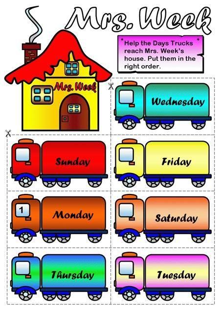 Los Días De La Semana En Inglés Paperblog La Semana En Ingles Ingles Para Preescolar Actividades De Ingles