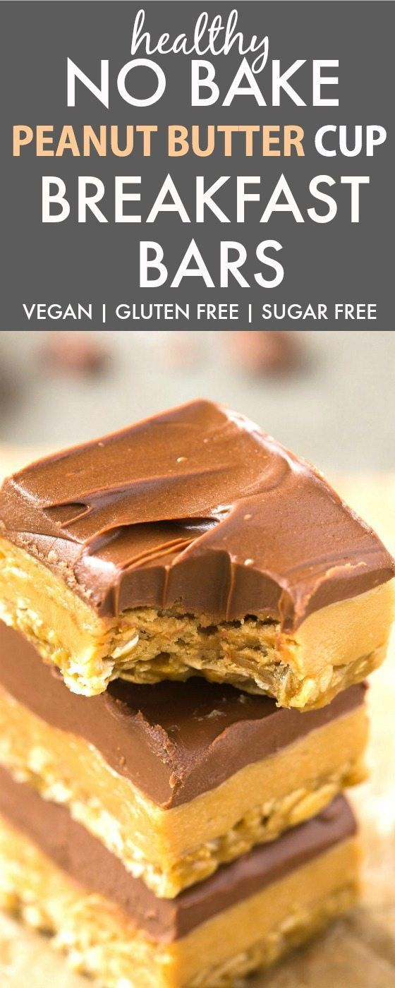 Healthy No Bake Peanut Butter Cup Breakfast Bars (V, GF, DF, SF)- Enjoy dessert for breakfast with this guilt-free and easy no bake bars which taste like a Reese's peanut butter cup! {vegan, gluten fr (Paleo Breakfast Bars) #sugarfreerecipes