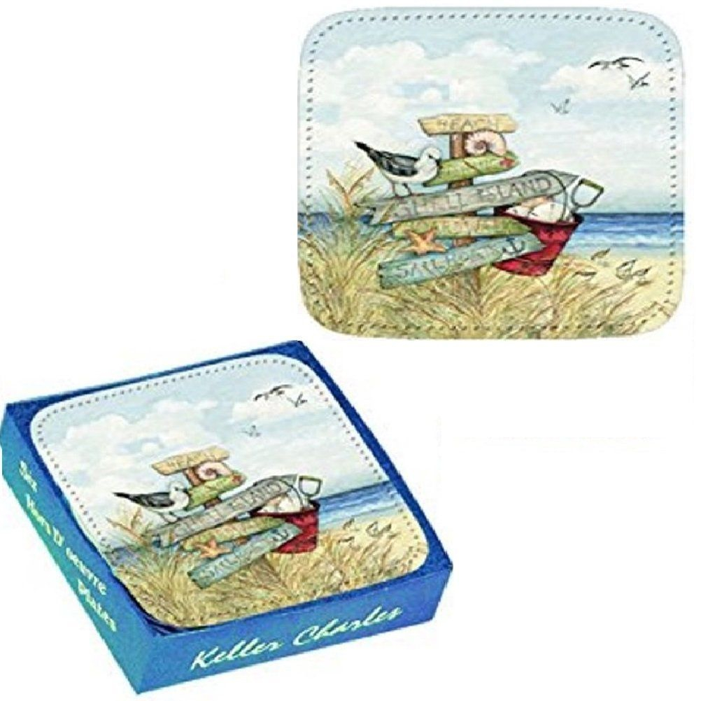 Amazon.com: 6 Melamine Hors D' Oeuvre Plates, Beach Signs, 6 Inches Square: Kitchen & Dining