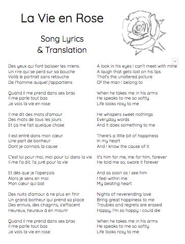 Pin By Beth Reid On French Lyrics La Vie Song Lyrics