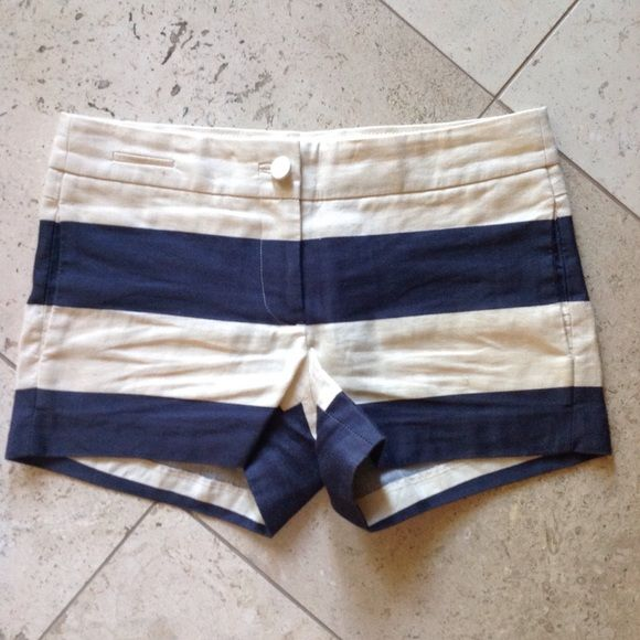 J. Crew Linen Shorts Navy Stripe Great condition. See my other J. Crew postings! J. Crew Shorts