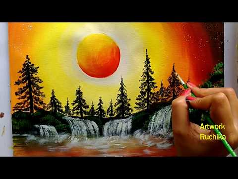 Waterfall Landscape Painting Sunset Scenery Painting Acrylic Painting For Beginners You In 2020 Scenery Paintings Landscape Paintings Acrylic Waterfall Paintings