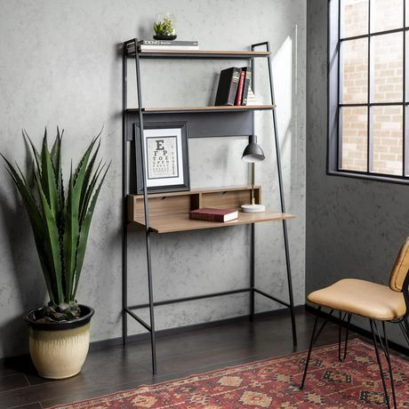 Manor Park 2 Shelf Modern Ladder Computer Desk Multiple Finishes Mocha Desk In Living Room Ladder Desk Living Room Shelves
