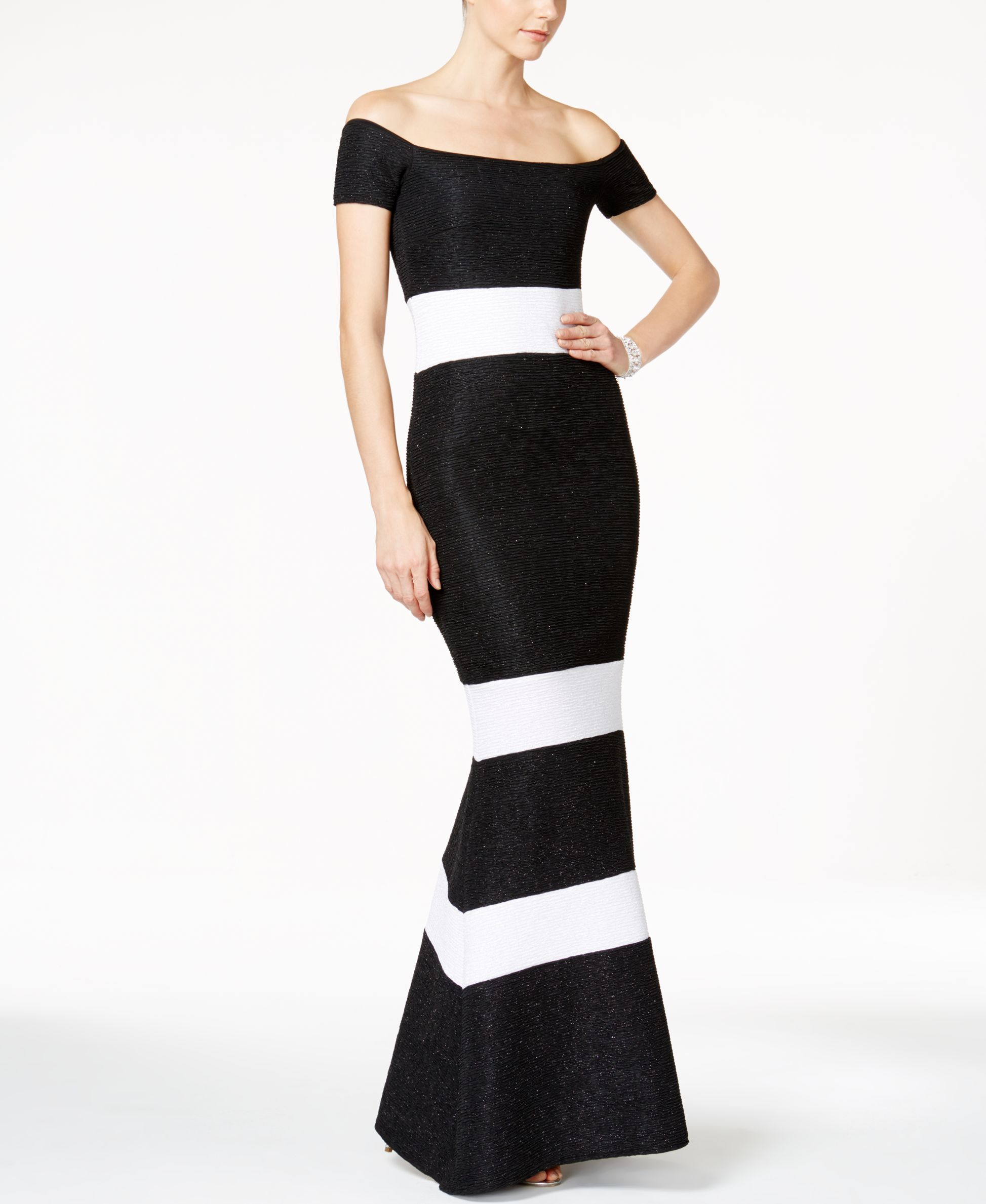Xscape glitter striped offtheshoulder gown products pinterest