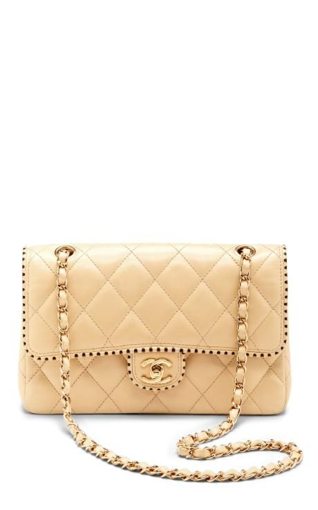 15355c307925 Vintage Chanel Cream Half Flap Two-Tone Trim Lambskin Bag by What Goes  Around Comes Around for Preorder on Moda Operandi