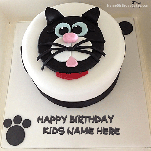 write name on Cat Birthday Cake For Kids picture HBD Cake